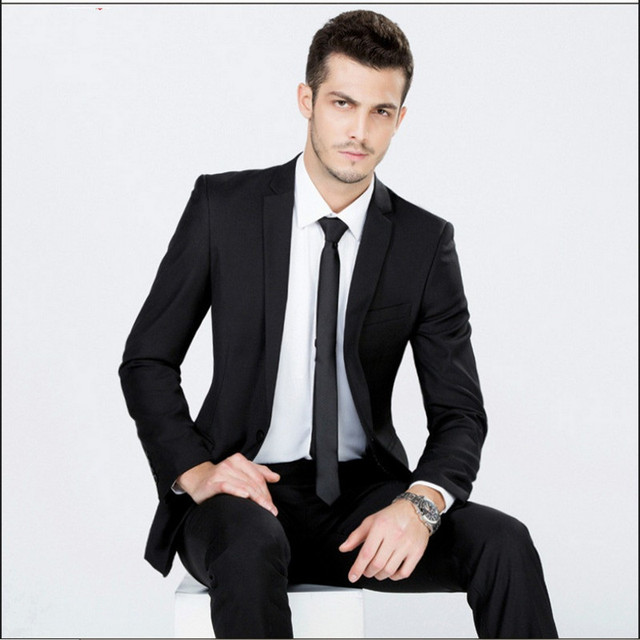 Aliexpress.com : Buy 2 Pieces Slim Fit Men Suits 2017 Black ...