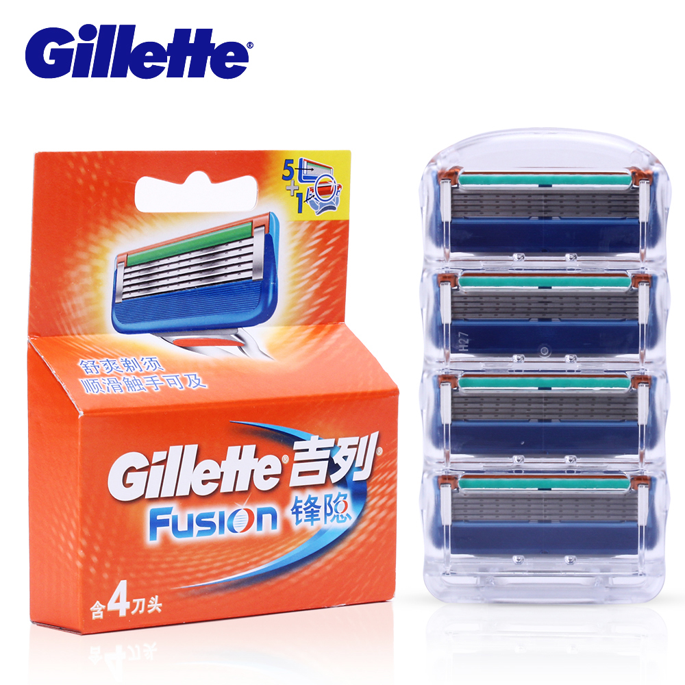 Gillette Fusion Shaving Razor Blades for Men Face Safety Razor Blade Shaving Replacement Head 4pc/pack Blade Face Hair Remover 6 pack face