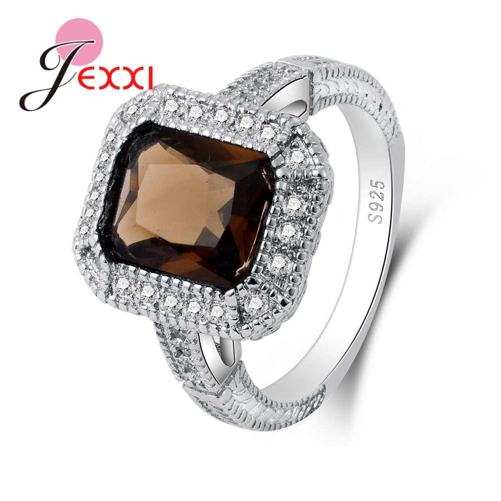 JEXXI European Styles Big Water Blue Cubic Zirconia Rings S90 Silver Charming Anniversary Gift For Wife Big Promotions