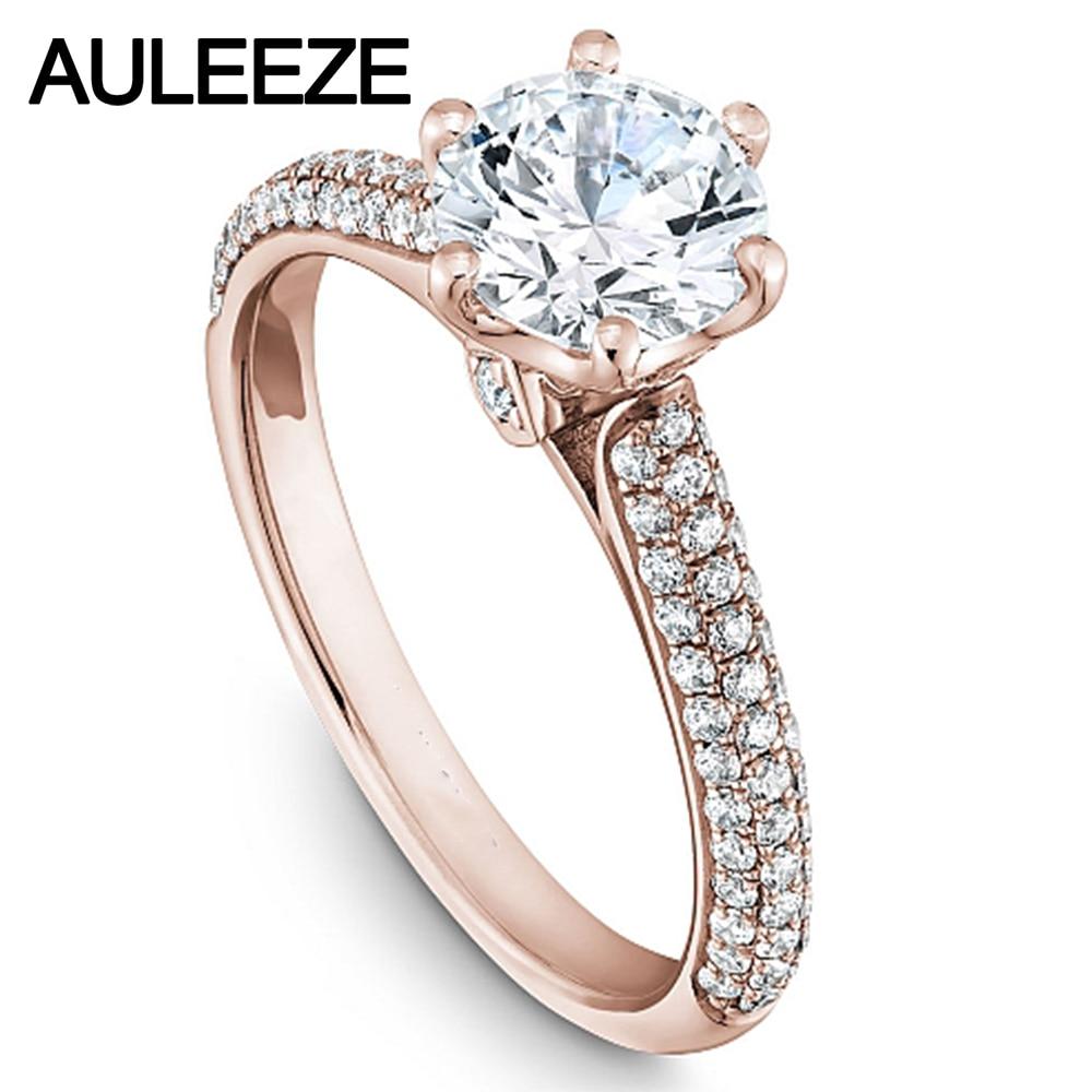 Edle Kathedrale Trevi Diamant-verlobungsring 9 Karat Roségold Brilliant Rundschnitt 1ct Simulierten Diamant-hochzeit Ringe Für Frauen