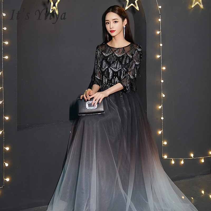 It's Yiiya Prom Dresses Sequins Long Plus Size O-neck Dresses Women Party Night Three-quarter Sleeve Vestidos De Gala 2019 E561