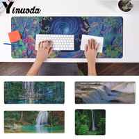 Yinuoda  Forest Waterfall gamer play mats Mousepad Size for 30x90cm and 40x90cm Gaming Mousepads