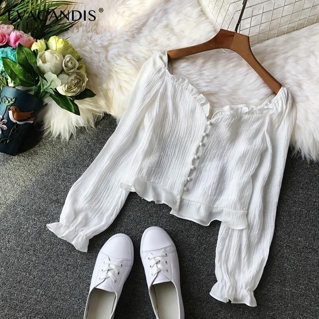 White Ruffle Chiffon Crop Top Off Shoulder Long Sleeve Sexy Tunic Pink Yellow Short Korean Spring Summer Boho Shirt Women Blouse