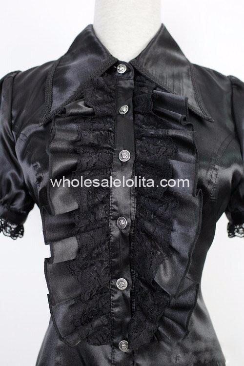 На заказ блузка Черная кружевная с короткими рукавами Готическая Лолита Блузка Милая Кружевная рубашка Лолита