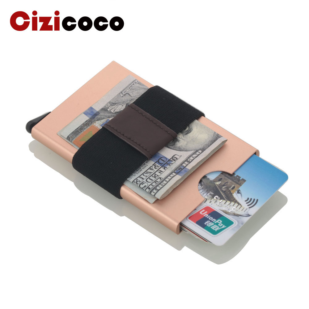 2019 New Aluminium Card Holder Men RFID Blcok Reading Credit Card Holder Automatical Pop Up Card Cases Durable Elastic Band