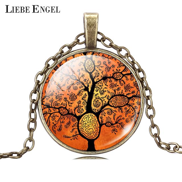 Life Tree Pendant Necklace Art Glass Cabochon 2