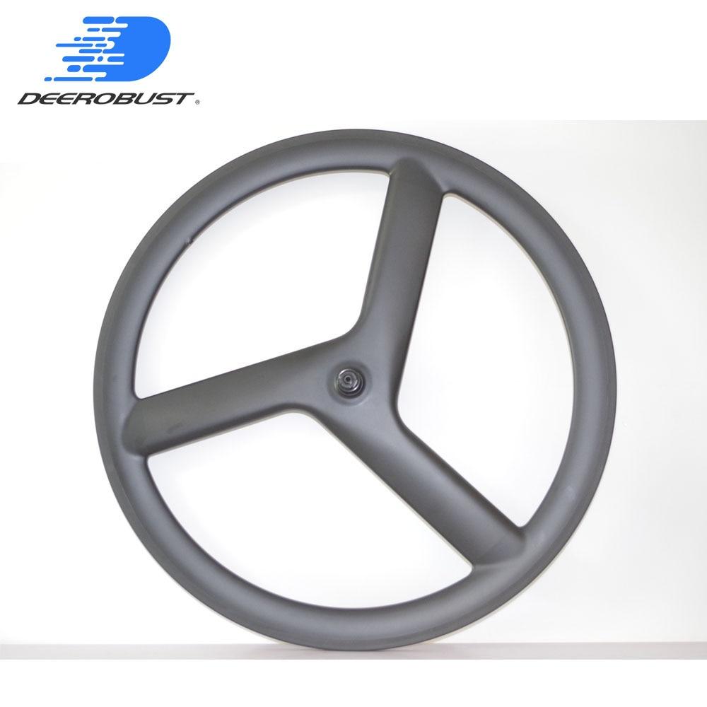 Dégagement avant roue en carbone 700C 50mm x 23mm Tri rayons 3 rayons route piste de vélo à engrenages fixes