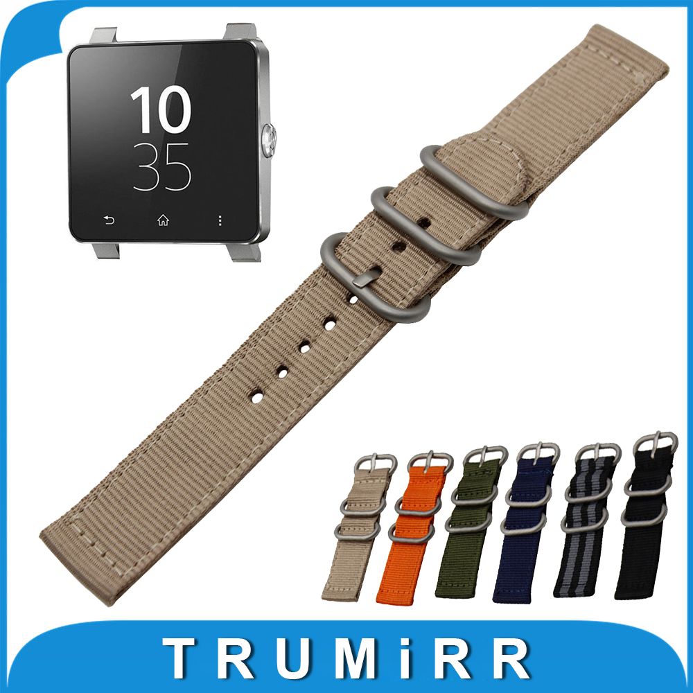 24mm Nylon Watch Band + Tool for Sony Smartwatch 2 SW2 Zulu Fabric Strap Wrist Belt Bracelet Black Gray Blue Brown Green Orange 24mm genuine leather watchband for sony smartwatch 2 sw2 smart watch band wrist strap plain grain belt bracelet tool black