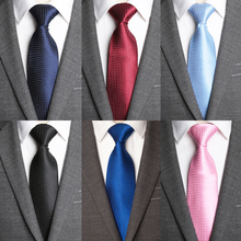 Men Tie New Classic Checks Jacquard Woven Polyester Mens Ties for Fashion Shirt 8cm Solid Necktie Bow Wedding Party