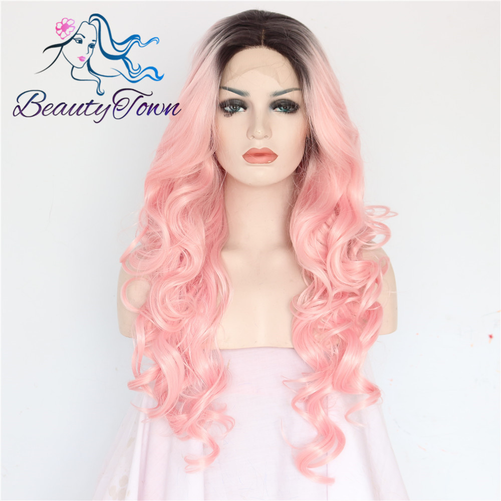 BeautyTown Black Ombre Pink Color Glueless Cosplay Heat Resistant Hair Big Wave Type Synthetic Lace Front