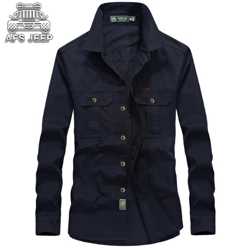 Plus Size 6XL Men Shirt Original Brand AFS JEEP Loose  Denim 100% Cotton Camisas Hombre Vestir Hawaiian Wearable Long SLeeve