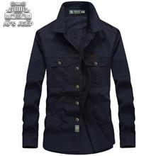 купить Plus Size 6XL Men Shirt Original Brand AFS JEEP Bust 140cm Denim 100% Cotton Camisas h=Hombre Vestir hawaiian Wearable Clothes дешево