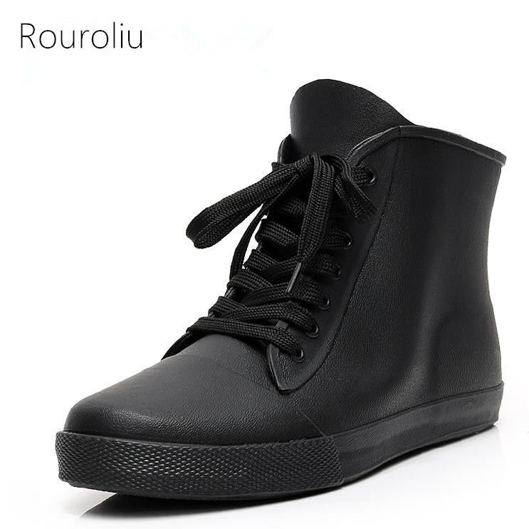 Aliexpress.com : Buy New Hot Men's Lace up Fashion Rubber Rain ...