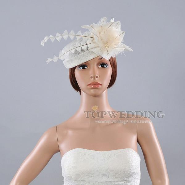 New Sinamay Feather Wedding Dress Church Hat Mini Pillbox Bridal ...