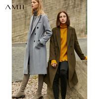 Amii Office Women Coats Autumn Winter 2018 Hepburn Double breasted Solid Woolen Long Coat Female Fashion Female Overcoat