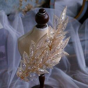 Image 2 - Broche para novia brillante hecho a mano, diademas ajustables, ropa para la cabeza de noche, accesorio para el cabello de boda