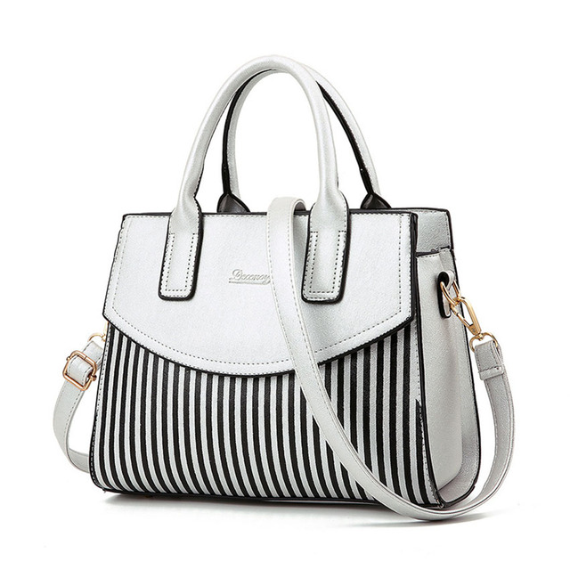 Free Shipping luxury handbags women bags designer Fixed Striped Women Leather Handbags Bags Handbags Women Famous Brands 39 TXJ