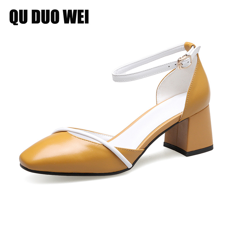 2018 new summer genuine leather women casual sandals round toe square fashion high heels rubber shoes woman ankle strap sandals women high heel shoes women slingbacks sandals genuine leather solid color black white summer fashion casual shoes round toe
