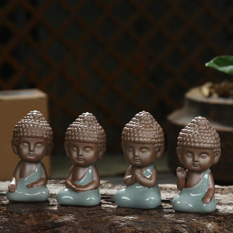 Buddha Statue Figurine Decoration Monk Tea Pet Car Accessories Bonsai Garden  House Decoration Tathagata India Yoga