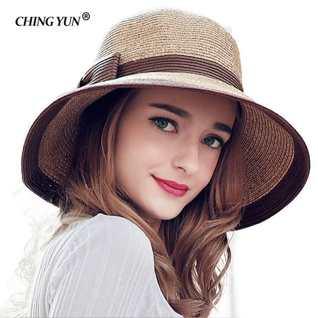 Women s Sun Hat Big Bow Wide Brim Floppy Summer Hats For Beach Panama Straw  Bucket Protection Visor Femme Cap Weave foldable 7713d4f3fbee
