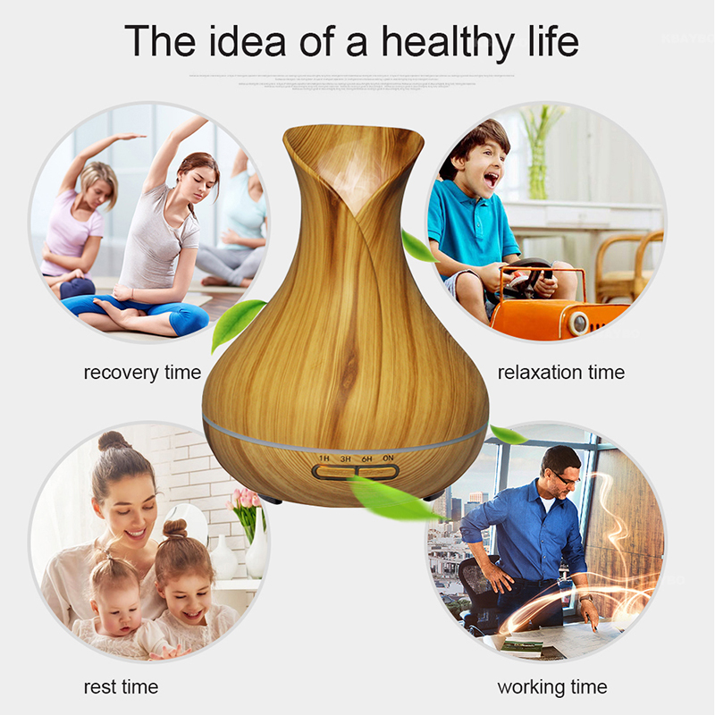 400ml Aroma Humidifier Essential Oil Diffuser Ultrasonic 7 LED Light with Wood Grain Home Electric Mist Maker Aroma Diffuser