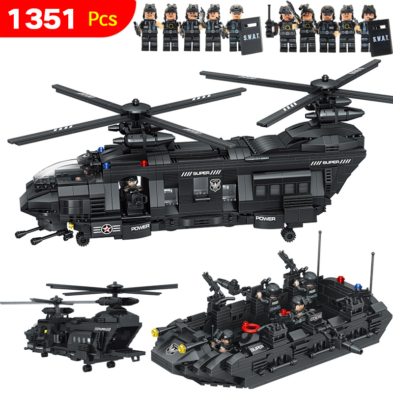 Swat Team Model Building Blocks Chinook Transport Helicopter Corps Figures Compatible LegoINGlys SWAT City Police Toys 1351Pcs 6pcs legoinglys military swat team city