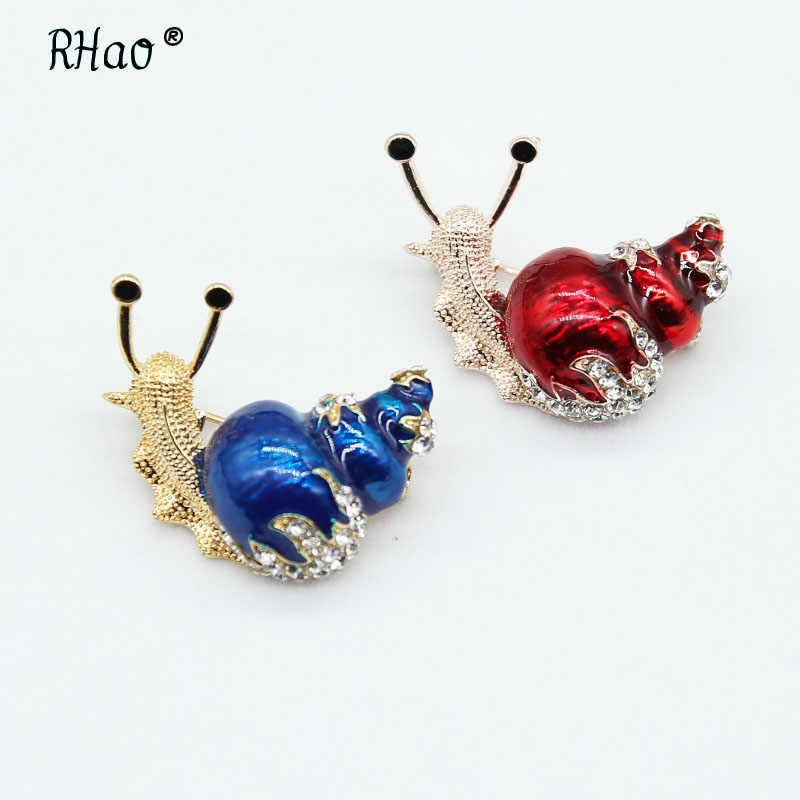 5 Warna Yang Tersedia Berlian Imitasi Siput Serangga Bros Pin Busana Bros untuk Wanita Lucu Kecil Enamel Pin Kualitas Tinggi