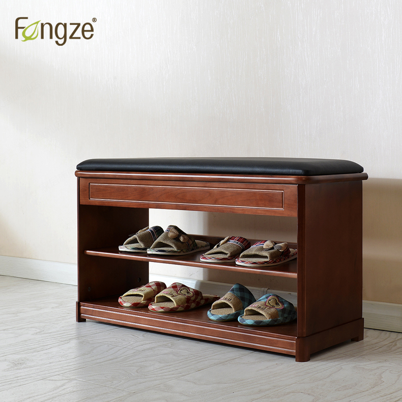 FengZe Furnishing FZ801 Modern Solid Wood Shoe Cabinet living shoe shelves Storage Box Chair self standing Pure leather cushion fengze furnishing fz821 modern solid wood shoes storage multifunction solid wood flower rack standing plants display cabine