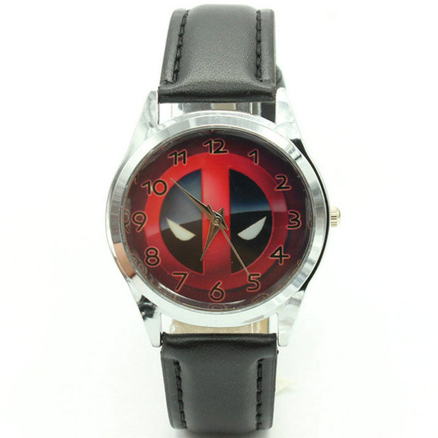 Free Shipping Marvel Super Hero Deadpool Superhero Leather Band Fashion Watch Wr