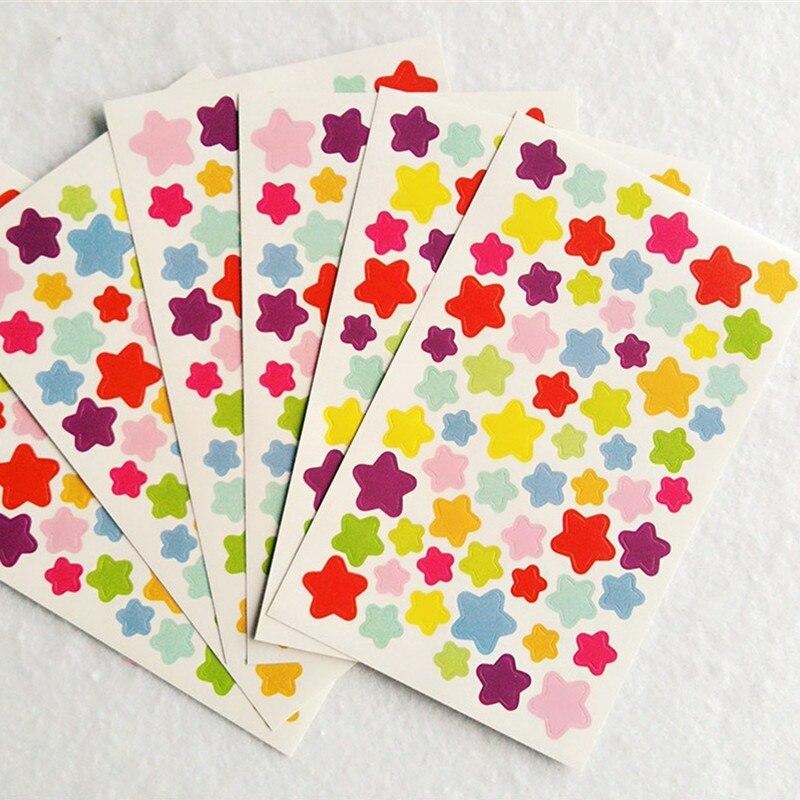 6pcs Sheet Cute Small Star Heart Dot Sticker Index Notebook Photo Album Decoration Wall Sticker Kitchen Bathroom Fridge Adhesive