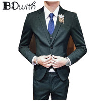 Single Breasted Wedding Men Suit Green Notched Collar Slim Fit 3 Pieces Jacket+Pants+Vest For Groom Tuxedos Formal Suit