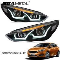 Светодиодный фар автомобиля для Ford Focus 3 MK3 2017 2016 2015 седан хэтчбек Авто Фары для автомобиля головной свет лампы комплект светодиодный s автомо