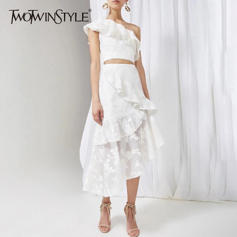 Ruches Taille Haute Costumes Sans Femme De Avec Encolure Irrégulière Midi Jupes Twotwinstyle White Jupe Suits Sexy Top Broderie Manches Court Y7Oqw0I