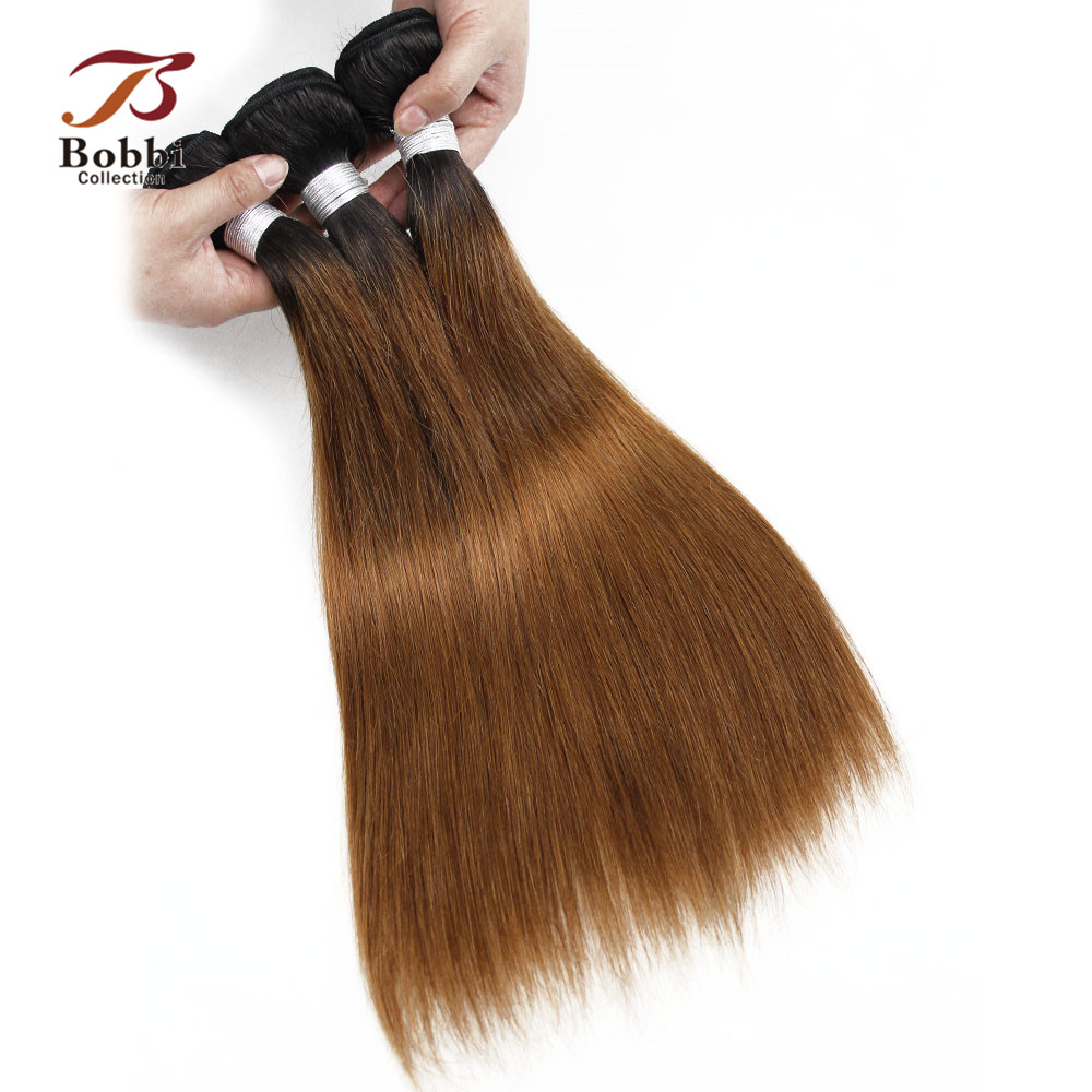 Two Tone Ombre Malaysian Straight Hair Bundles 3 Bundles T 1B 30 Brown Auburn Ombre Human Hair Extension Bobbi Collection