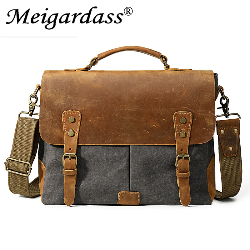 MEIGARDASS Business Canvas Genuine Leather Briefcase Men's Handbags Totes Office Laptop Messenger Bags For Men Shoulder Bag