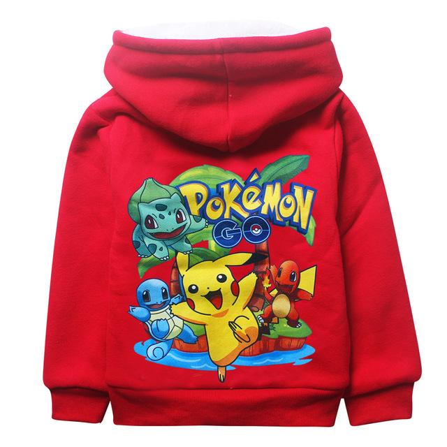Kids Pokemon Go Costume Zip-up Hooded Fleece Thicken Coat anna elsa winter outerwear cartoon fortnite hoodeies girls boys Jacket