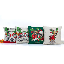 Merry Christmas linen pillow case 45*45cm Theme Pillowcase Home Party Decoration
