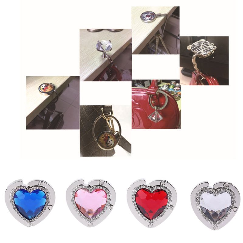 1PC Multi-Purpose Hook Heart Shape Rhinestones Folding Handbag Purse Tote Bag Hanger Holder Table Hook Home Kitchen Hooks