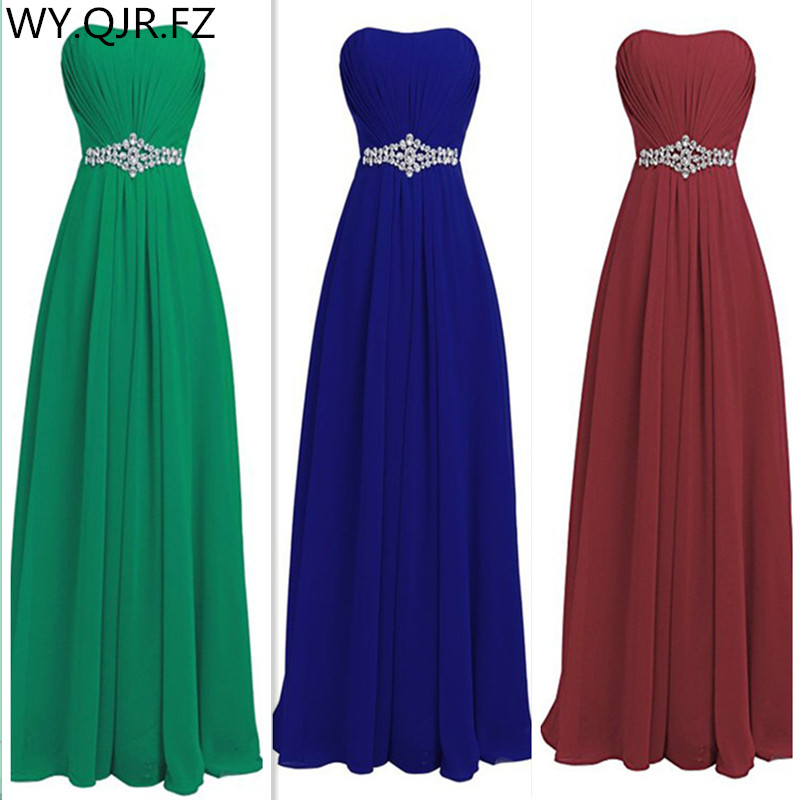 QNZL82#Green Blue Wine Red Resin Drill Zipper Back Bridesmaid Dresses Wedding Party Prom Dress 2019 Cheap Wholesale Custom