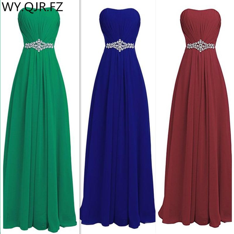 QNZL82 Green blue wine red Resin drill Zipper back Bridesmaid Dresses wedding party prom dress 2019