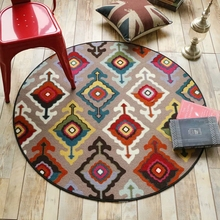 Fashion Soft European Retro Vintage Ethnic Image Print Round Decorative Carpet Floor Door Chair Mat Pad Bathroom Parlor Area Rug недорого