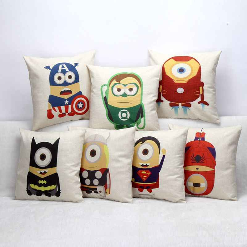 Square 18'' Children cushion  cartoon print Super hero minion bed sofa decorative pillow home textiles fundas para cojines