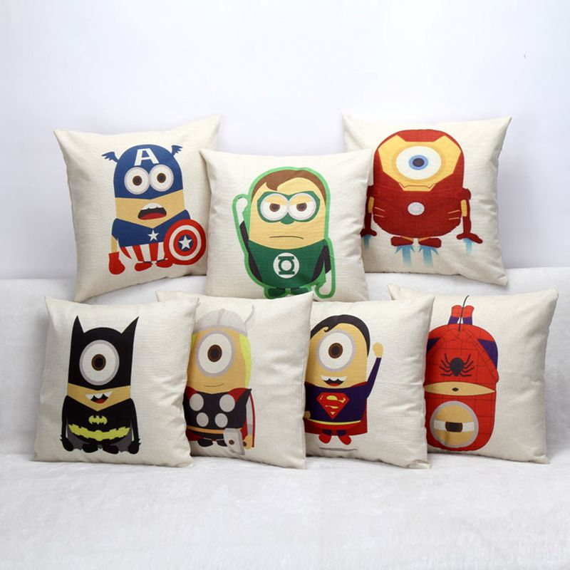 Square 18 '' Gyermek párna rajzfilm nyomtatás Szuperhős minion ágy kanapé dekoratív párna otthon textil alapok para cojines