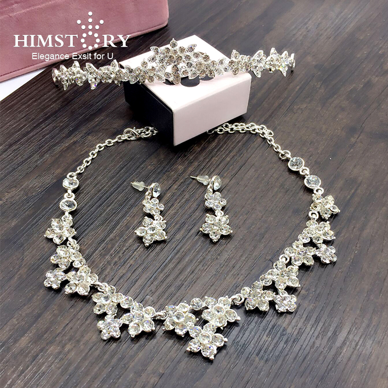 Hot Sale Sliver Plated Rhinestone Crystal Necklace+Earrings+Tiara 3pcs Jewelry Set For Bride Bridal Wedding Accessories