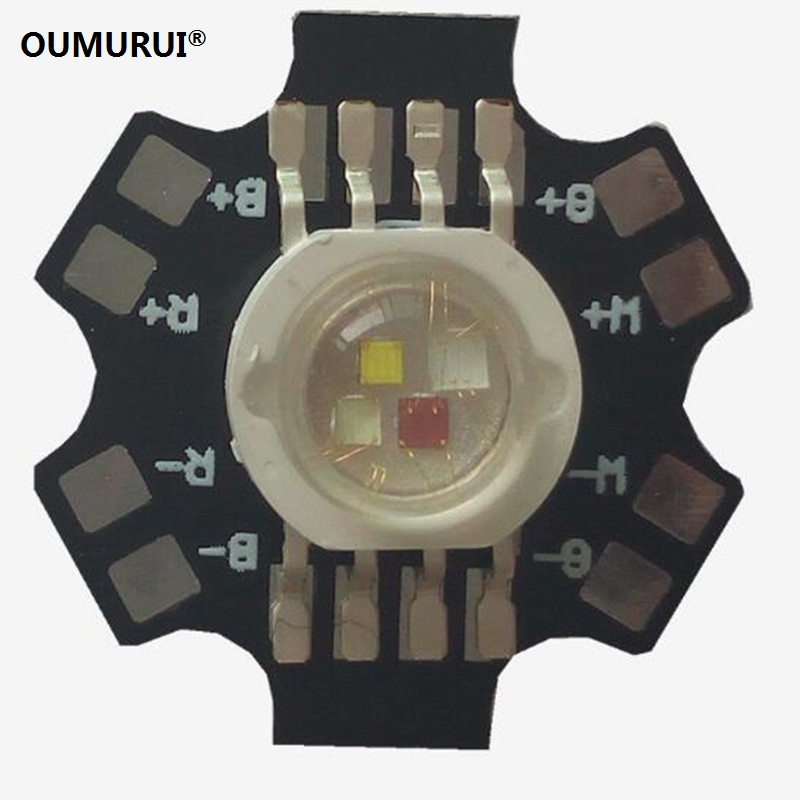 50pcs 4W 12W LED RGBW 8PINS with 20mm plate High power Lamp RED GREEN BLUE WHITE 350/700mA 30mil/38mil/45mil Chips Free shipping
