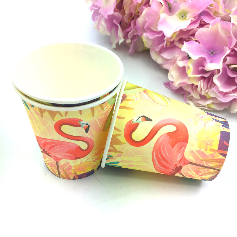 Flamingo theme 20pcs paper cups 20pcs paper plates kids girls favors Happy birthday party Tableware set decoration in Disposable Party Tableware from Home Garden