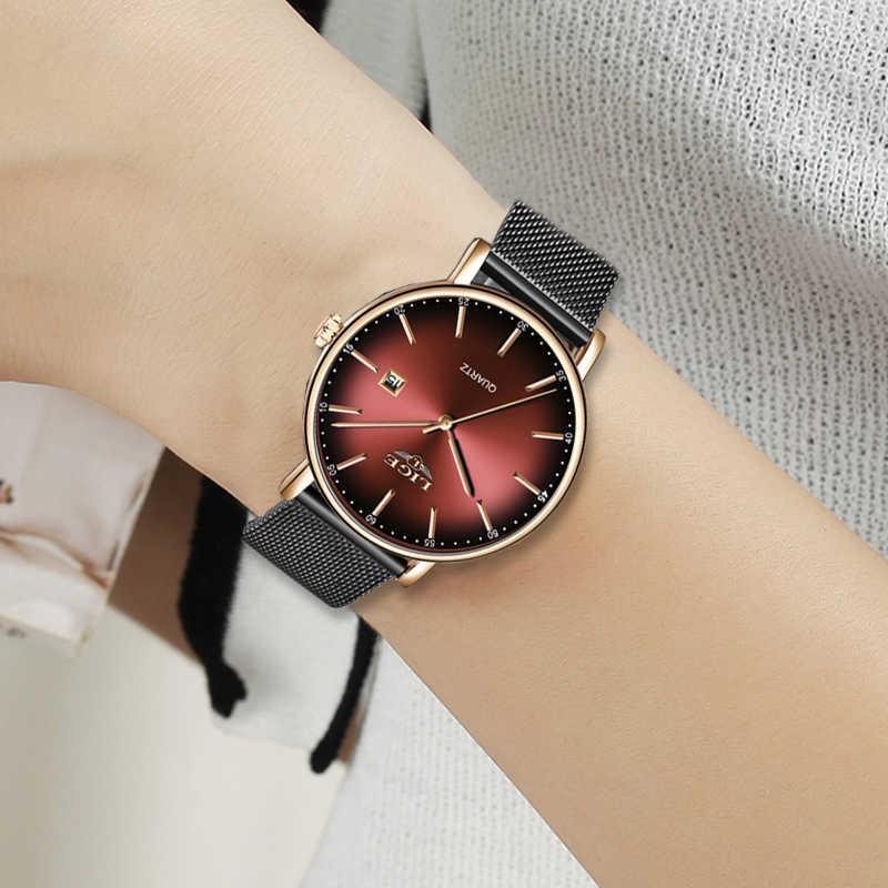 LIGE femmes montres haut de gamme marque de luxe dames maille ceinture Ultra-mince montre en acier inoxydable étanche horloge montre à Quartz Reloj Mujer