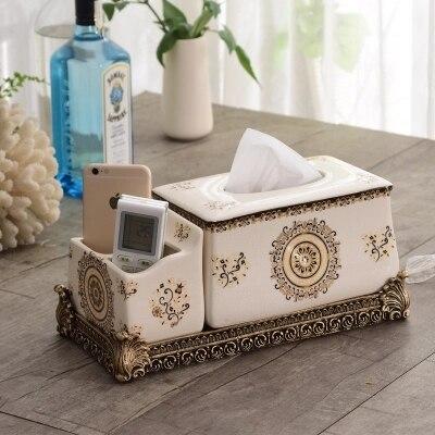Boîte à mouchoirs multifonctionnelle en céramique de style européen meuble de télévision créatif boîte de rangement de télécommande à la maison boîte de salon