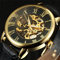 Classic 3d Logo Design Hollow Engraving Black Gold Case Leather Skeleton Mechanical Watches Men Luxury Brand