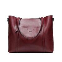 Brand Women Handbag Genuine Leather Shoulder Bag Female Bags Cowhide Portable Shopping Bag Vintage Large Capacity
